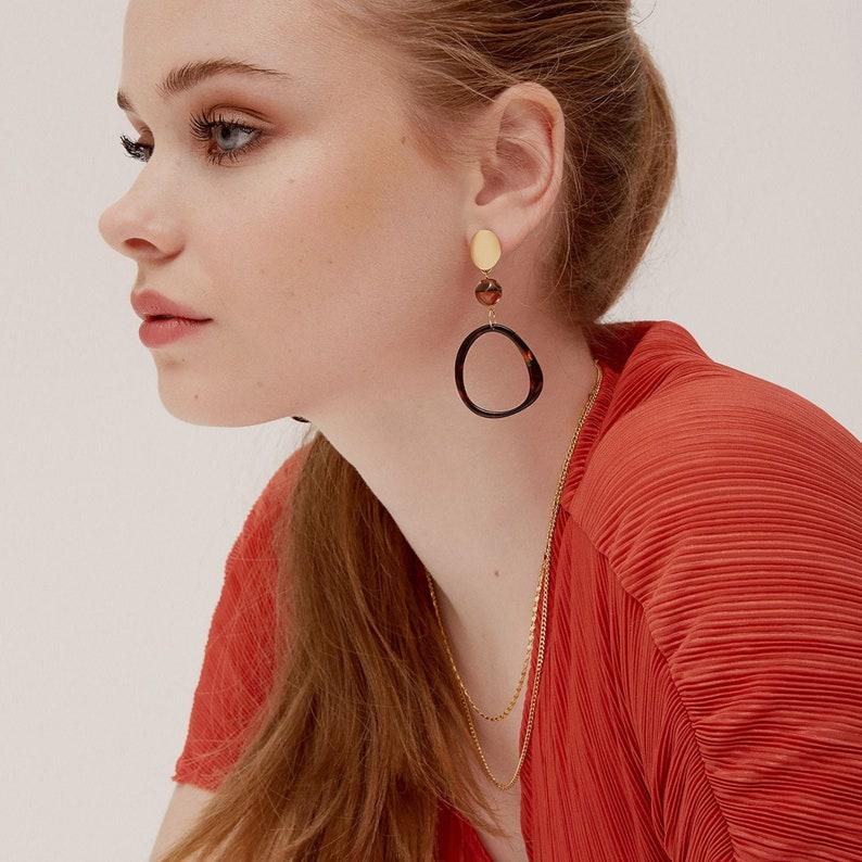 Tortoiseshell hoop earrings  Acetate earrings  Contemporary image 0
