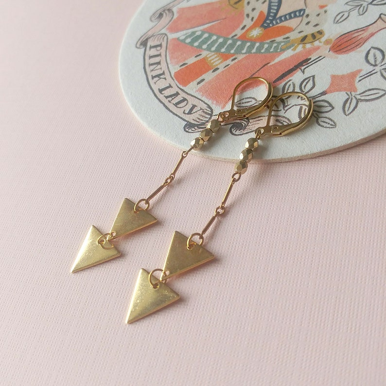 Geometric earrings triangle  gold plated brass  chevrons  image 0