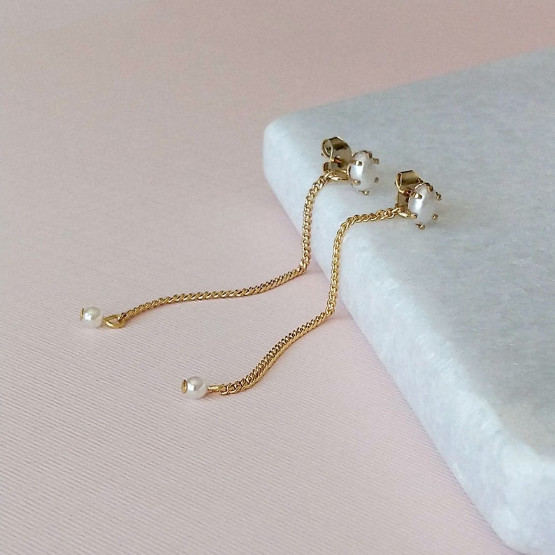 Rio pearl ear posts with gold chain  2 in 1 earrings SD1460 image 0