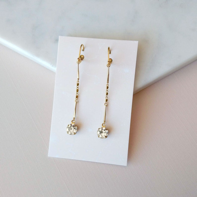 Crystal Earrings with gold chains  Classic earrings  Prom  image 0