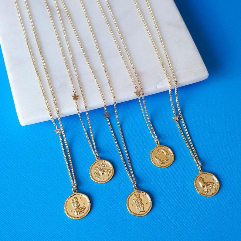 Zodiac Sign Necklace  Gold Zodiac Coin Necklace  image 0