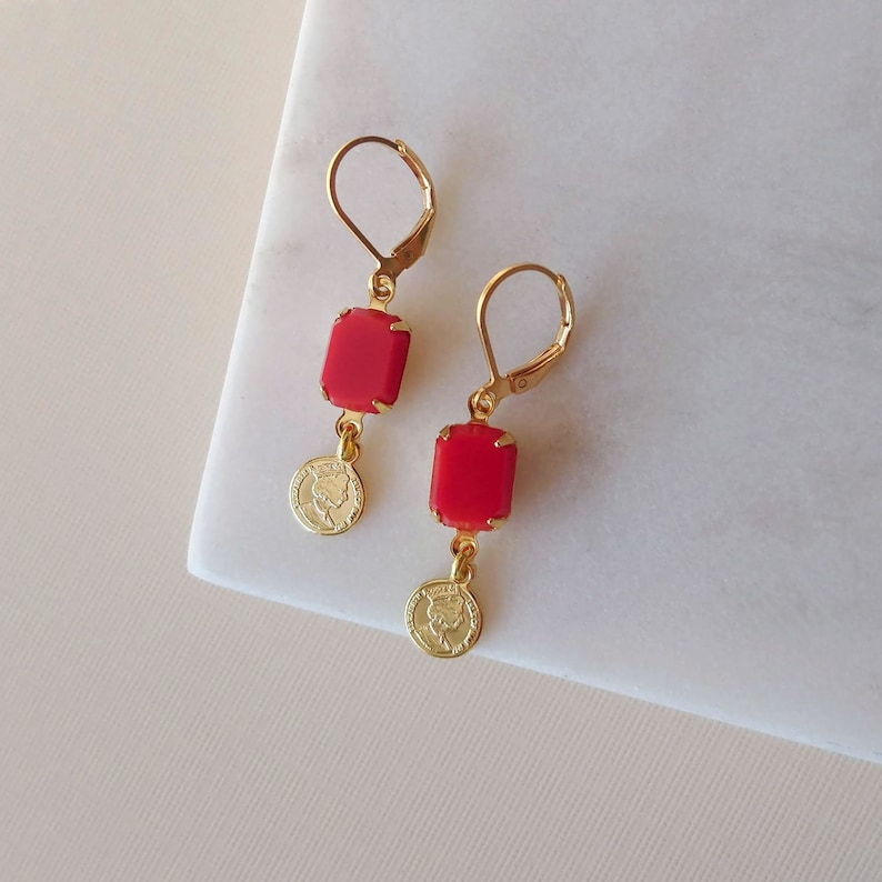 Lucky Coin earrings  Cherry Red Earrings  Charm earrings image 0