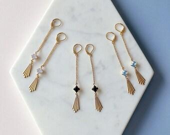 Art Deco Inspired Earrings - Black Earrings - Geometric - Long Earrings - Scorsese Earrings (SD1121)