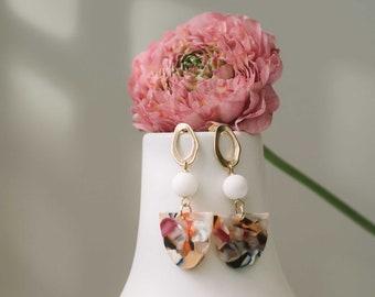 Acetate earrings - Colorful - Semi-circle drop - Fani Ear Posts (SD1677)