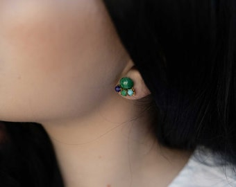 Green and blue triangle earrings - studs - Tri Ear posts (SD1120)
