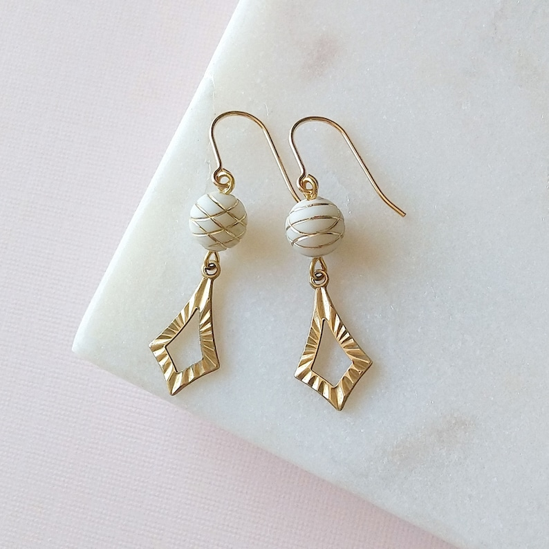 White and gold earrings  14K gold filled earrings  vintage image 0