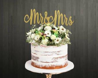 Cake Topper / Mr & Mrs Cake Topper / Mr and Mrs Cake Topper / Wedding Cake Topper / Married Cake Topper / Mr and Mrs / Glitter Cake Topper