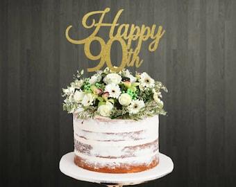 Cake Topper 90th Birthday Custom Glitter