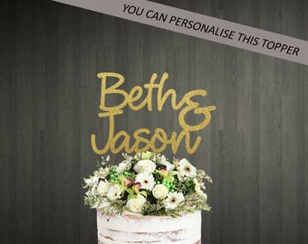 Personalized Name Engagement Cake Topper