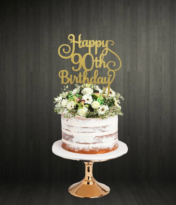Peachy 90Th Birthday Cake Topper Etsy Funny Birthday Cards Online Elaedamsfinfo