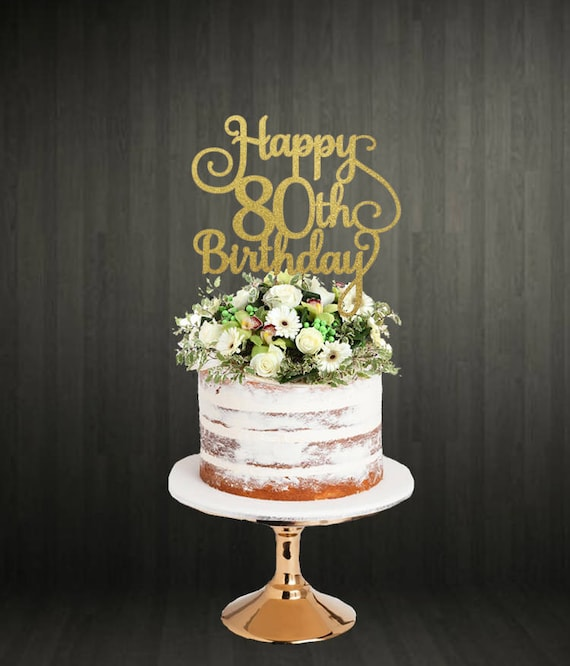 Pleasant 80Th Birthday Glitter Cake Topper Etsy Funny Birthday Cards Online Aboleapandamsfinfo