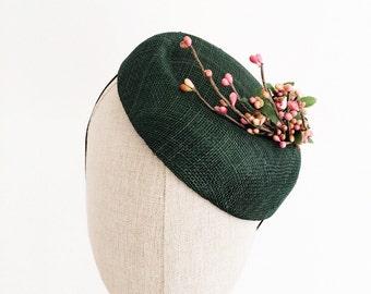 Forest Green Cocktail Hat Smile Fascinator Pink Bud Flower Branch Mini Hat