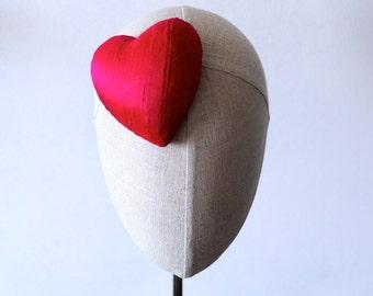 Mini Hot Pink Silk Heart Cocktail Hat Millinery Fascinator