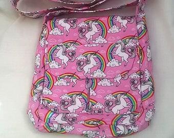 Girls Small Messenger Rainbow Unicorn Bag, cotton fabric, made in Yorkshire