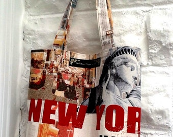 New York Theme Bag Eco Friendly Shoulder Bag, Reusable Bag for Life, made in Yorkshire