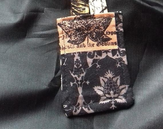 Black Fabric Keyring, Fabric Key Fob, Bag Charm, Luggage Tag