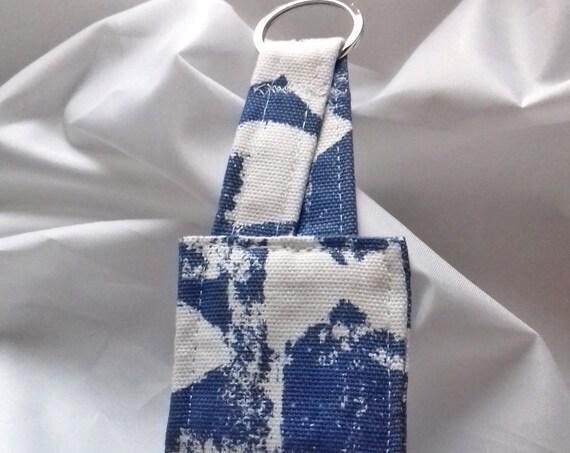 Blue Keyring, Linen Fabric Key Fob, Luggage Tag