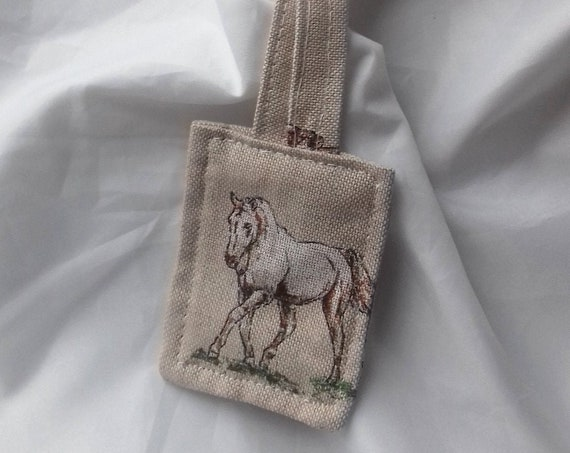 Horse Keyring, linen fabric keyfob, horse or equestrian gift, Teacher Gift