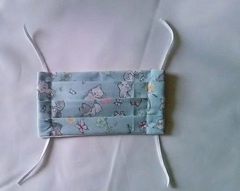 Kittens Pleated Face Covering , Cotton Face Mask with filter pocket, handmade in Yorkshire