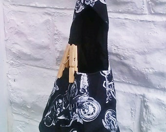 Motorbike Wigwam Peg Bag Motorcycle Peg Bag Cotton Laundry Bag, New Home Gift made in Yorkshire