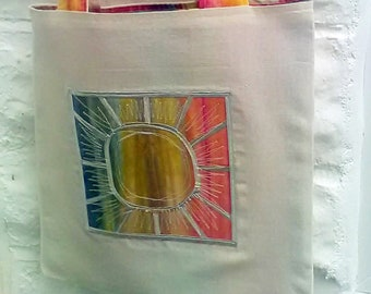 Solstice Sunburst Eco Friendly Cotton Shopping Bag, made in Yorkshire
