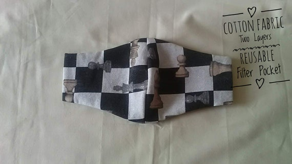 Chess Fabric Face Mask with filter pocket, cotton face covering washable face mask, made to order, UK