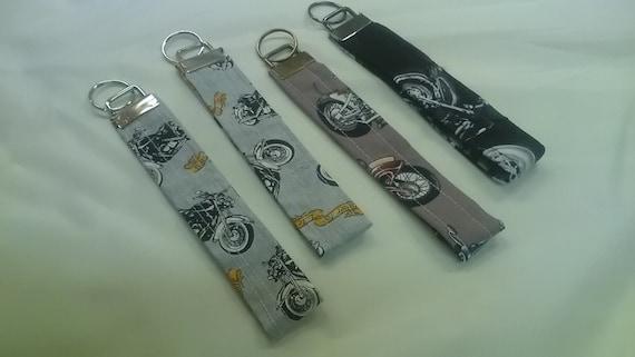 Grey Motorcycle Keyfob Motorbike Keyring Brown Wrist Strap Keychain