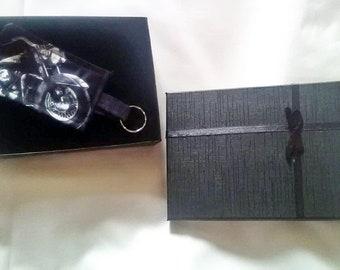 Motorcycle Fabric Keyring, Motorbike Keyfob Black Keychain Gift For Men