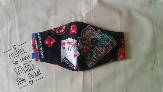 Reusable Casino Fabric Face Covering with filter pocket, cotton fabric washable face mask, made to order, UK