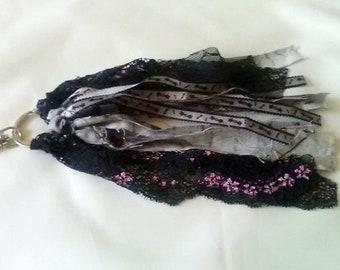 Black Cat Fabric Tassel Keyring, Cat Keyfob Bag Charm, Halloween Gift