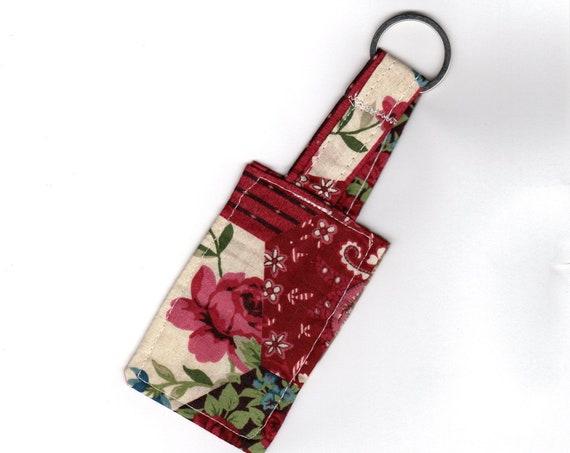 Valentine Gift Red Rose Keyring Patchwork Fabric Keyfob, Cotton Anniversary Gift Handmade Floral Bag Charm