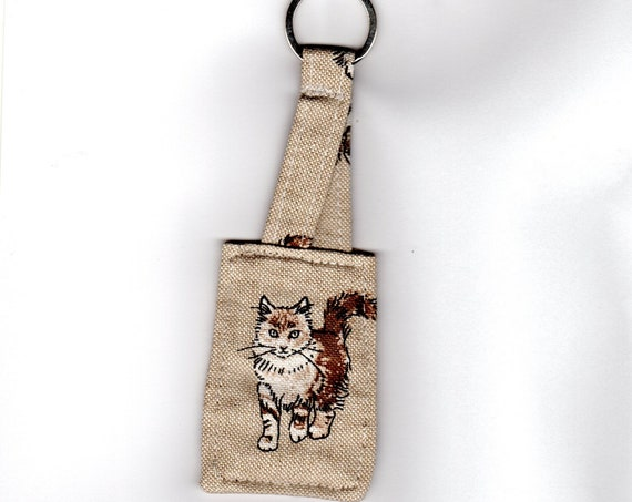 Cat Keyring, Cat Keyfob, handmade linen fabric Cat Bag Charm, Teacher Gift
