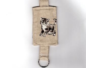 Kitten Keyring, Linen Fabric Keyfob, Animal Bag Charm