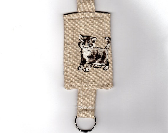 Kitten Keyring, Linen Fabric Keyfob, Animal Bag Charm