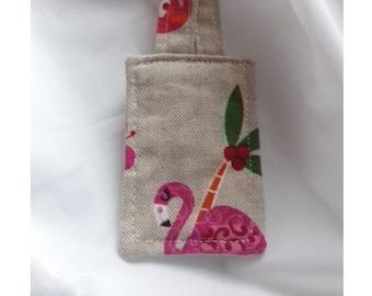 Flamingo keyring, bird keyfob, handmade linen fabric keyring, gift for her