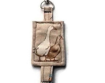 Duck Keyring, Farmyard Keyfob, Linen Stitched Textile Key holder, bag tag