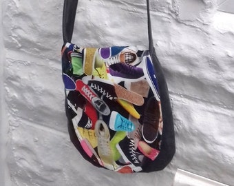 Upcycled Shoulder Bag, Casual Festival Bag, Grey Cotton Fabric Bag, made in Yorkshire