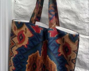 Kilim Fabric Cotton Shopping Bag, Eco Friendly Grocery Bag