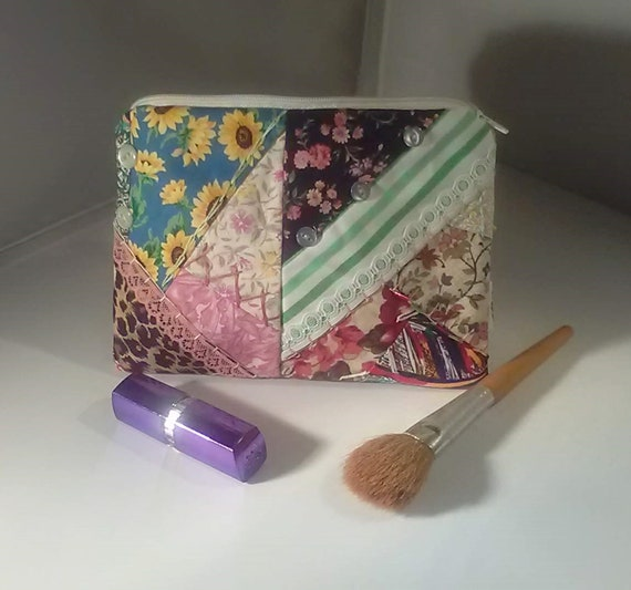 Patchwork Make Up Bag, Embroidered Cotton Fabric Zipped Pouch For Travel Storage, Handmade Cosmetic Purse