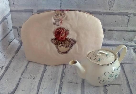 Linen Tea Cosy, Rose Applique Tea Pot Cover