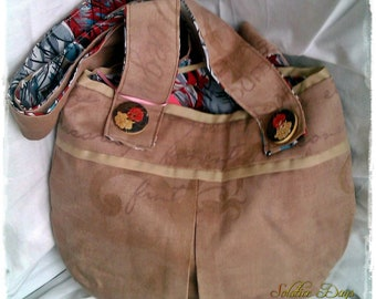 Upcycled Shoulder Bag, Brown Fabric Bag