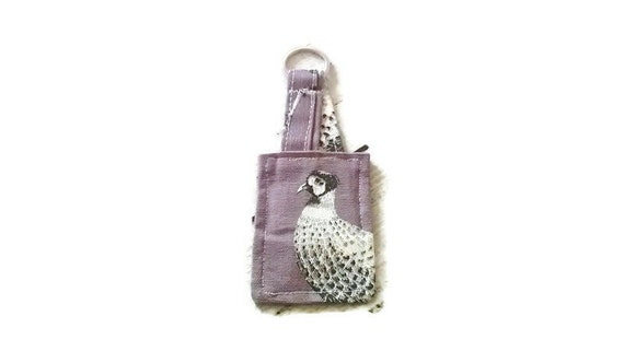 Woodland Keyring Squirrel Keyfob, Hare, Pheasant, Fox Keyfob Linen Luggage Tag
