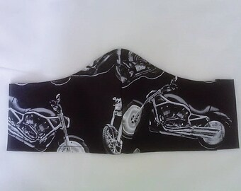 Motorbike Face Mask Fitted Face Cover, Black Cotton Biker Mens Mask ,handmade in Yorkshire