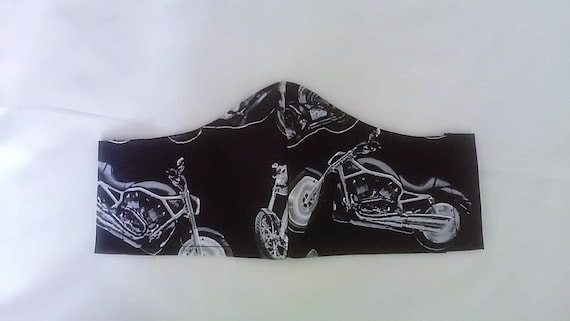 Motorbike Face Mask Fitted Face Cover, Black Cotton Biker Mens Mask filter pocket made to order Yorkshire, UK