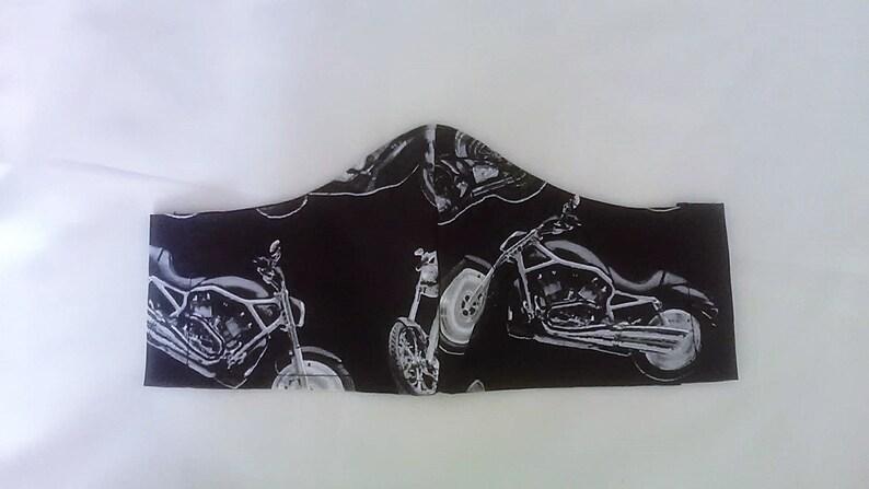 Motorbike Face Mask Fitted Face Cover Black Cotton Biker Mens 1 mask - black