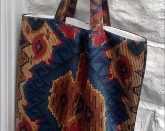 Reusable Kilim Cotton Tote Bag, Eco Friendly Shopping Bag