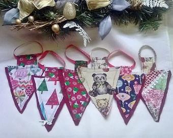 Upside Down Christmas Tree Decoration, Fabric Tree Decoration, ready to post, UK