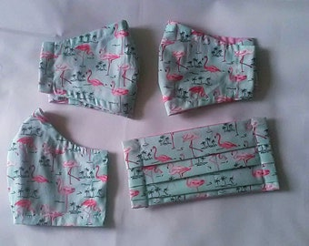Flamingo Face Mask Reusable Cotton Face Covering with filter pocket, cotton fabric washable face mask, handmade UK