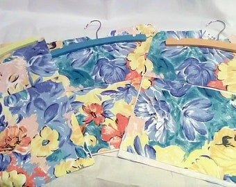 Peg Bag - Yellow Floral Laundry Bag, Wood Hanger, made to order handmade in Yorkshire