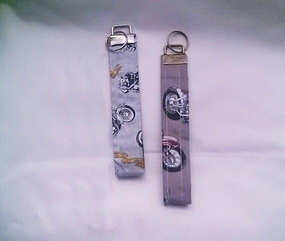 Motorbike Wrist Strap Fabric Keyfob, Motorbike Brown Keyring, Grey Wristlet